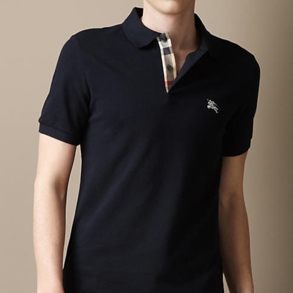 440603b54 burberry brit dark navy mens check polo shirt